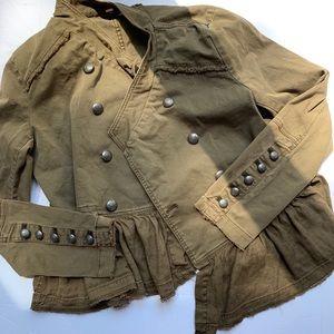 NWOT Free People military ruffle jacket army green